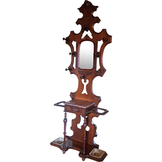 American Antique Victorian Walnut Hall Stand with Pink Marble Circa 1870's