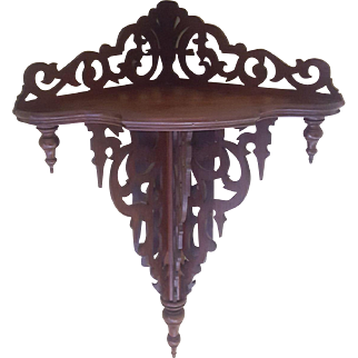 Large Antique Victorian Walnut Hanging Corner Shelf Circa 1870's
