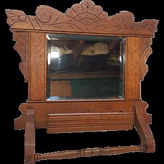 Antique Oak Shaving Mirror Comb Box Towel Bar Circa 1900