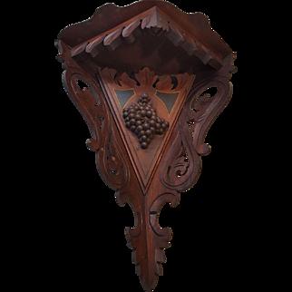 Antique Victorian Walnut Hanging Corner Shelf Circa 1870's
