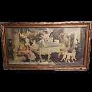 Enchanting Vintage Print Angels Cherubs Lady Piano Circa 1920's