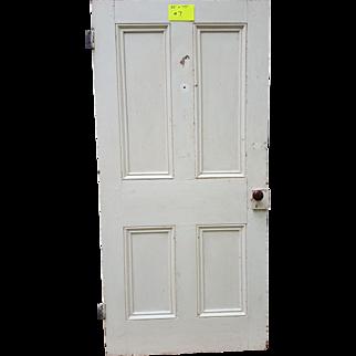 Antique Wooden Door with Raised Panels and Original Door Knob and Hinges
