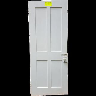 Antique Wooden Door with Four Panels and Original Door Knob and Hinges