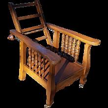 Antique Oak Child's Morris Chair Circa 1910