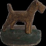 Vintage Cast Iron Terrier Dog Door Stop Circa 1910