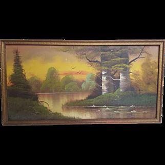 Vintage Signed Landscape Oil Painting on Hardboard