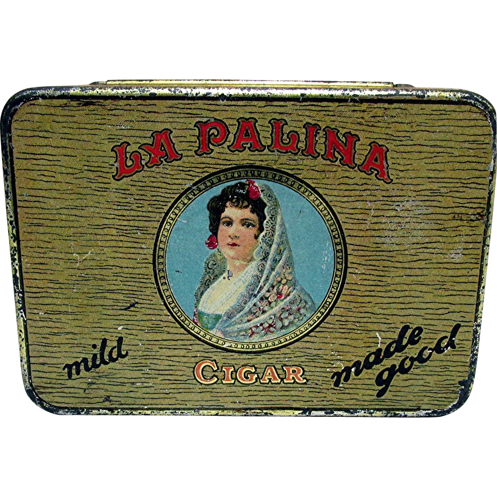 SOLD    Advertising Pocket Cigar Tin La Palina