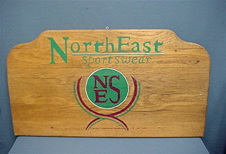 NorthEast Sportswear Wood Outdoor Advertising Sign