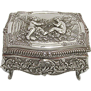 Silvered Repousse Jewelry Box