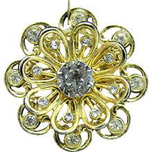CORO Brooch or Pin Flower Head Set with Rhinestone