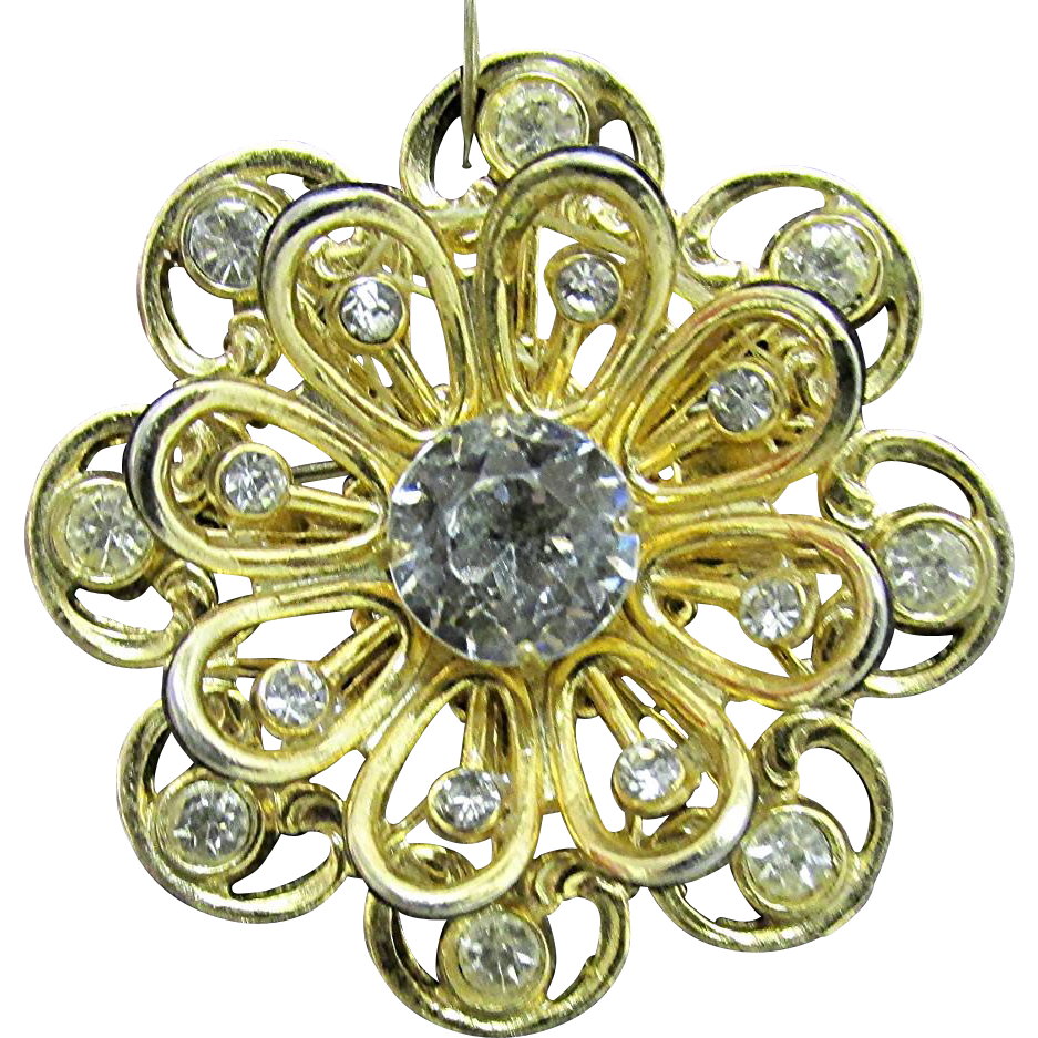 CORO Brooch or Pin Flower Head Set with Rhinestone