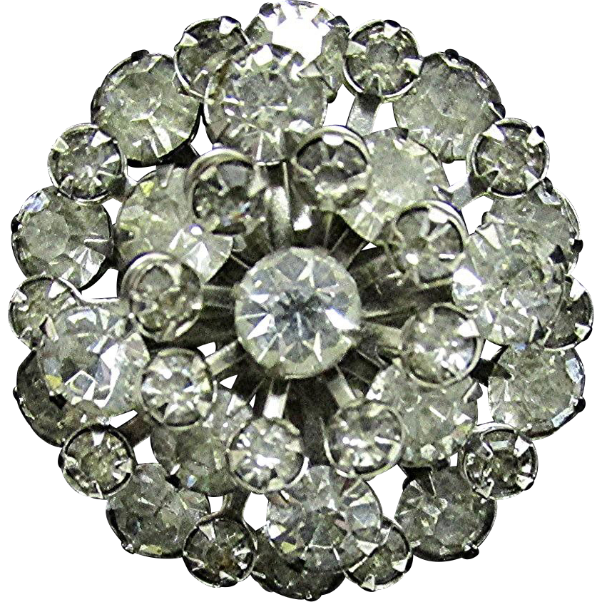 Rhinestone Domed  Pin or Brooch with Tiers of 37 Stones