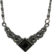 "Necklace  16"" long with Six 6 Graduated Rhinestones and Onyx"
