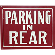 Tin Sign Parking in Rear