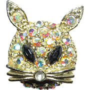 Cat Pin or Brooch Red Eyes and Aurora Rhinestone Face