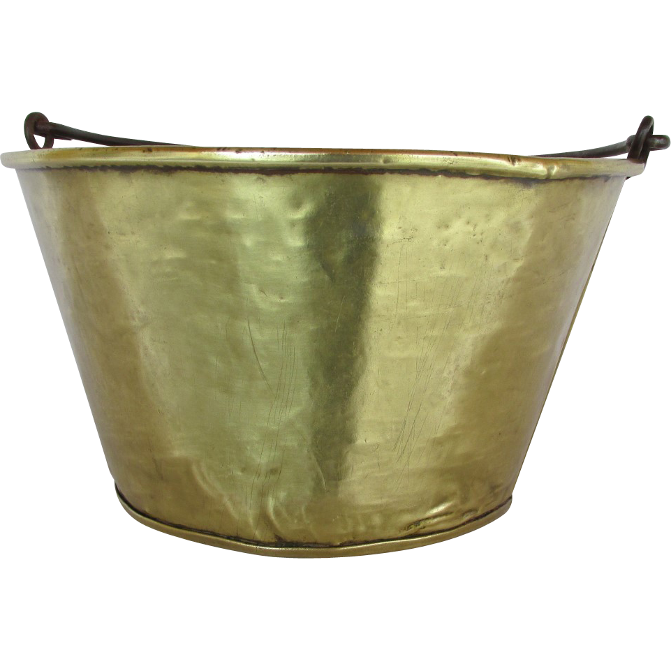 Brass Kettle, Pail, Bucket or Pot Hand Hammered Circa 1870