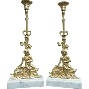 Candle Stick Matching Pair Antique French Figural Clock Set