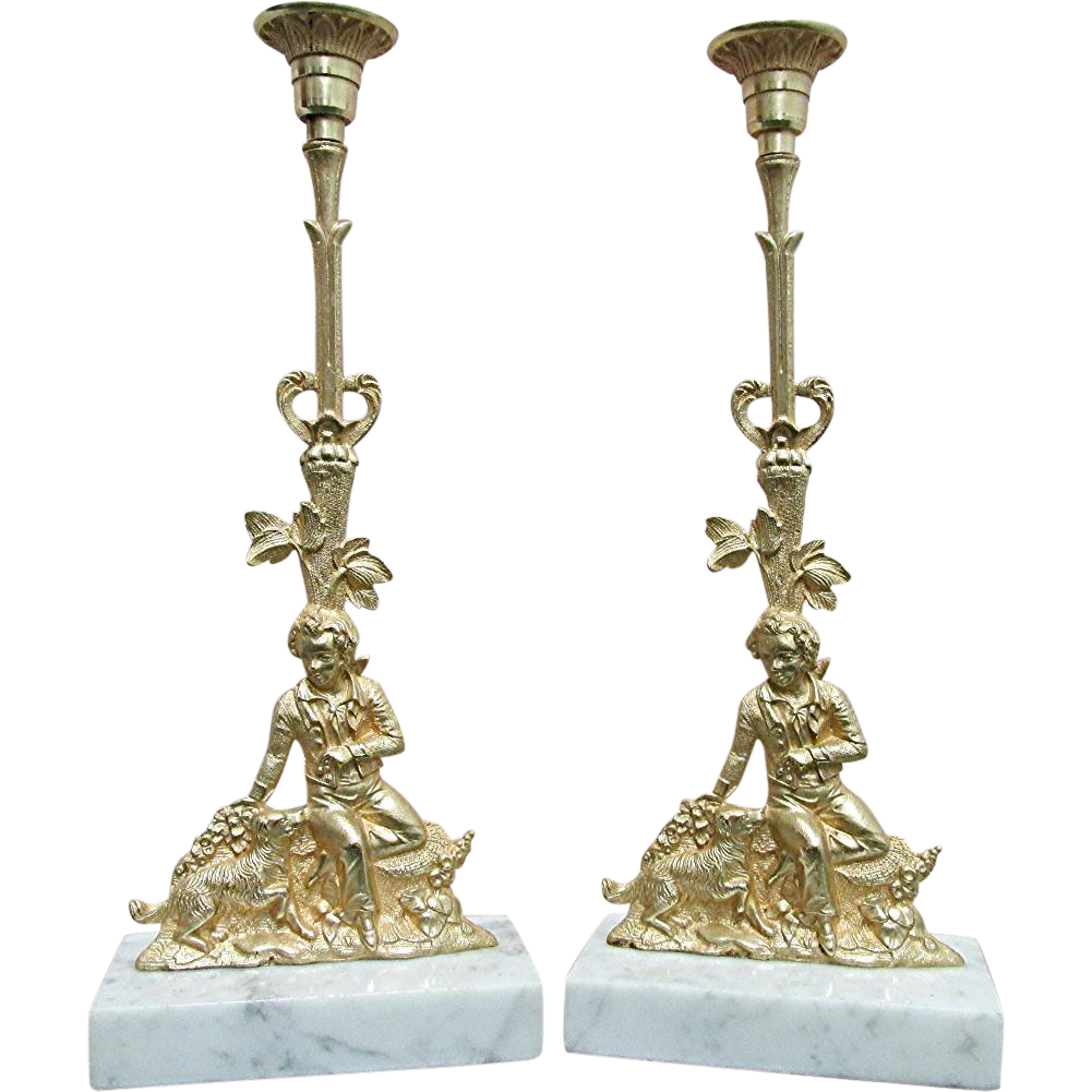 Candle Stick Matching Pair Antique French Figural