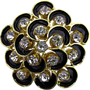 Rhinestone and Black Enamel Pin or Brooch