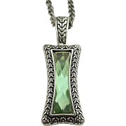 "Pendant Necklace 26"" signed Lia Sophia Green Quartz in Art Deco Setting"