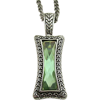 "Pendant Necklace 26"" Green Quartz in Art Deco Setting"
