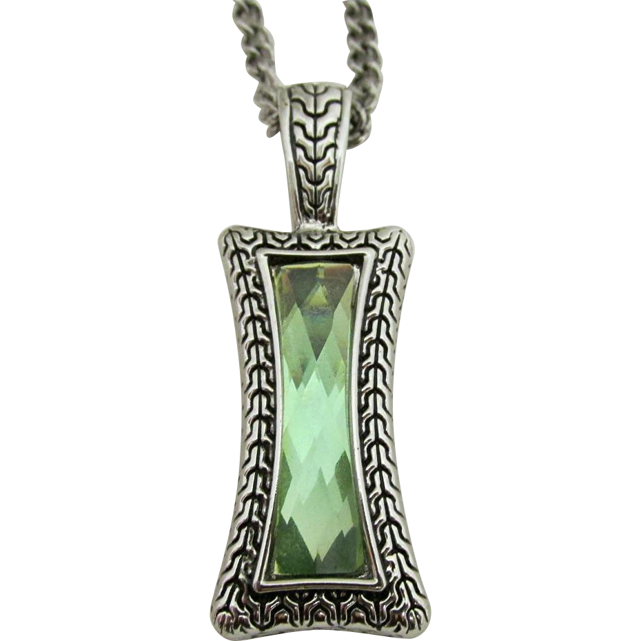 "SOLD   Pendant Necklace 26"" signed Lia Sophia Green Quartz in Art Deco Setting"
