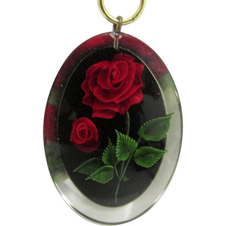 Necklace Choker Chain with Lucite Pendant  Embedded with Roses