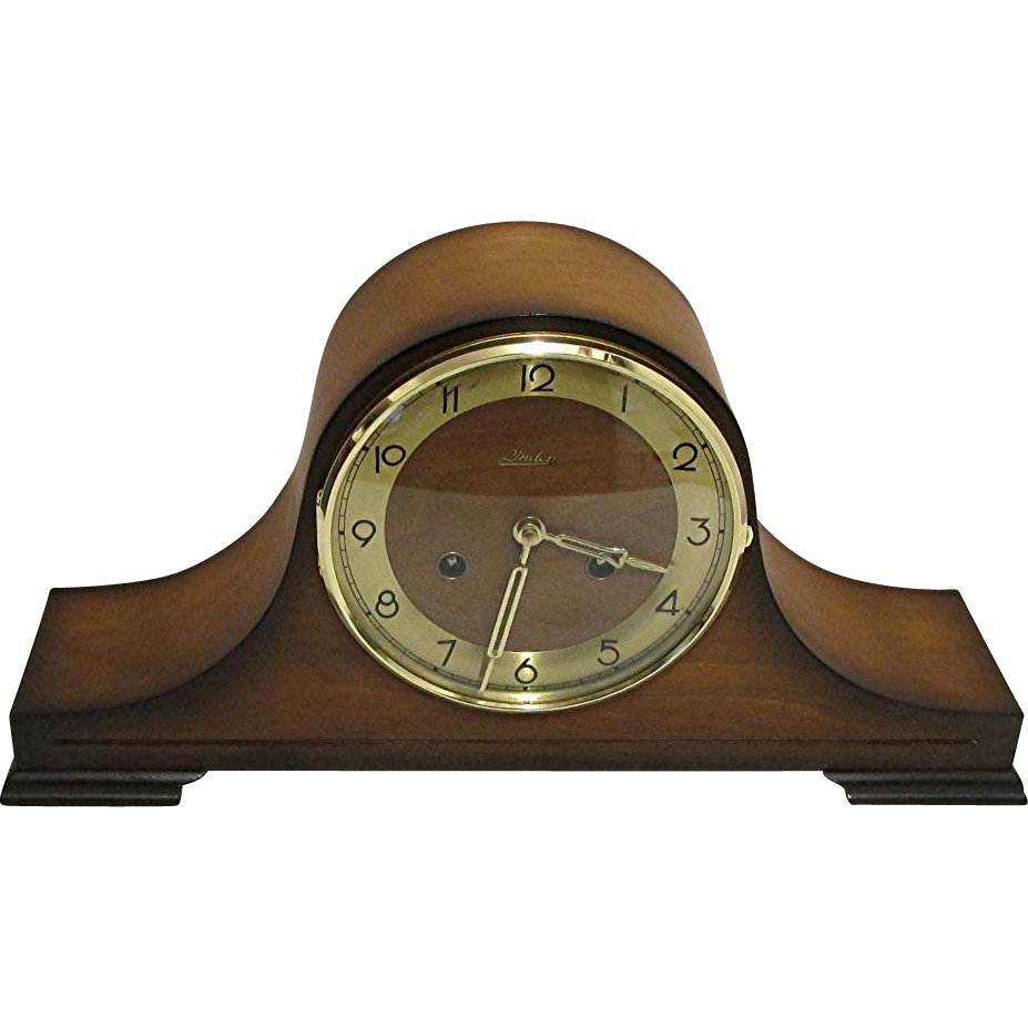Walnut Mantle Clock  Restored And Keeps Time