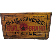 Chase and Sanborn Coffee Wood Advertising Box