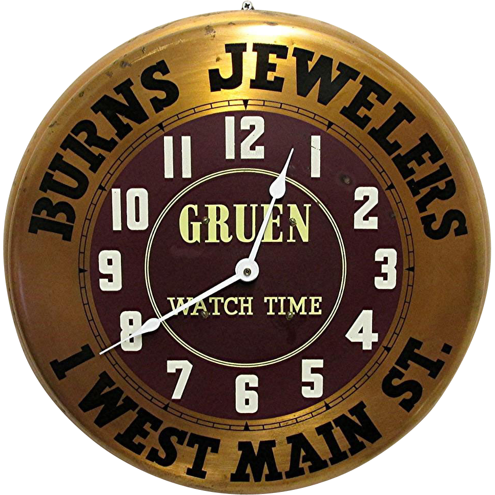 Gruen Watch Advertising Wall Clock From Drury On Ruby Lane