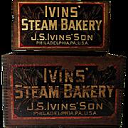 IVINS Steam Bakery Wood Advertising Box