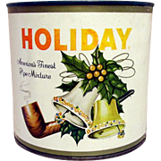 Holiday Pipe Tobacco Advertising Tin Unopened with Paper Label
