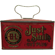 Just Suits Cut Plug Tobacco Lunch Box Advertising Tin