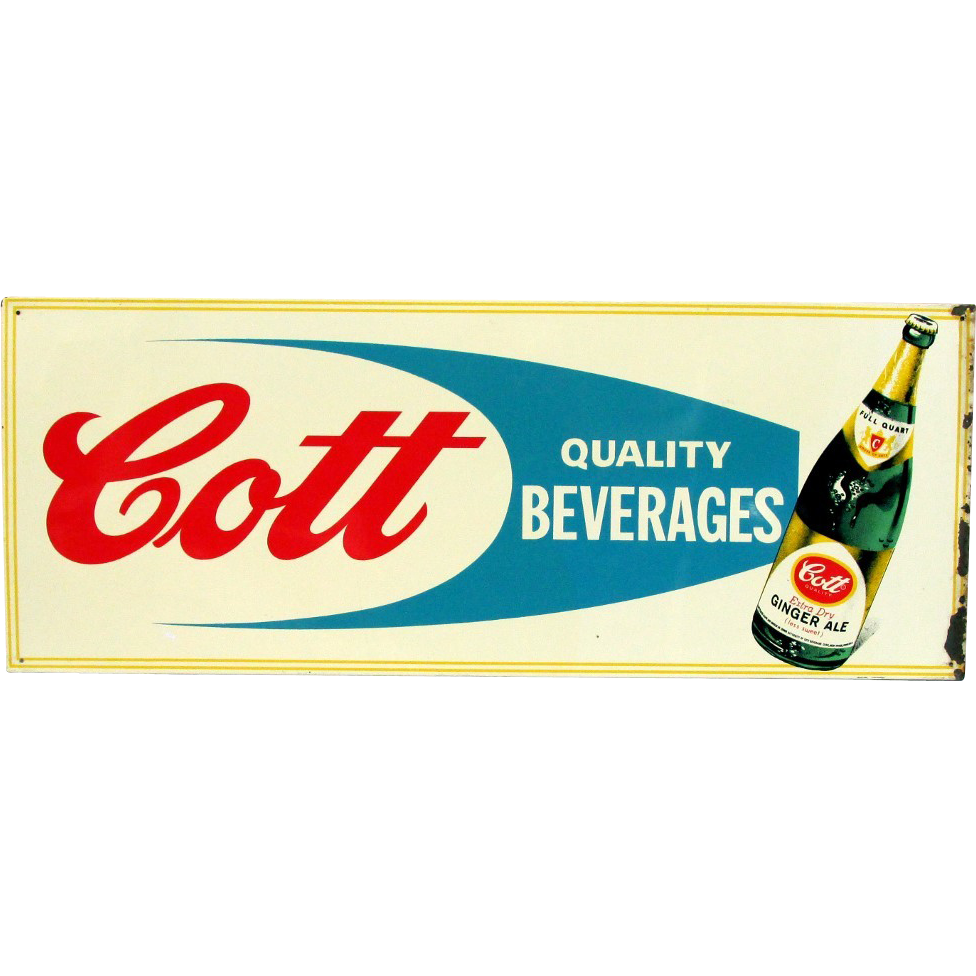 Cott Quality Beverages Ginger Ale Advertising Sign