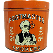 Postmaster Smokers Advertising Tobacco Tin
