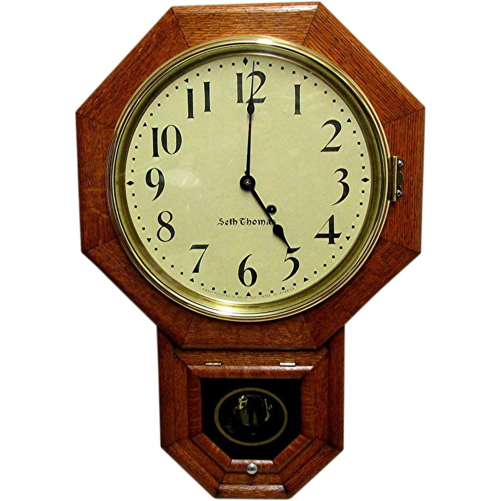 Antique Seth Thomas Regulator Wall Clock Original Restored Condition