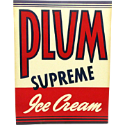 Hood Dairy 1936 Plum Ice Cream Advertising Sign