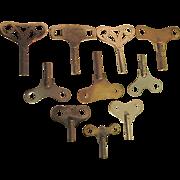 Ten Antique Clock Keys