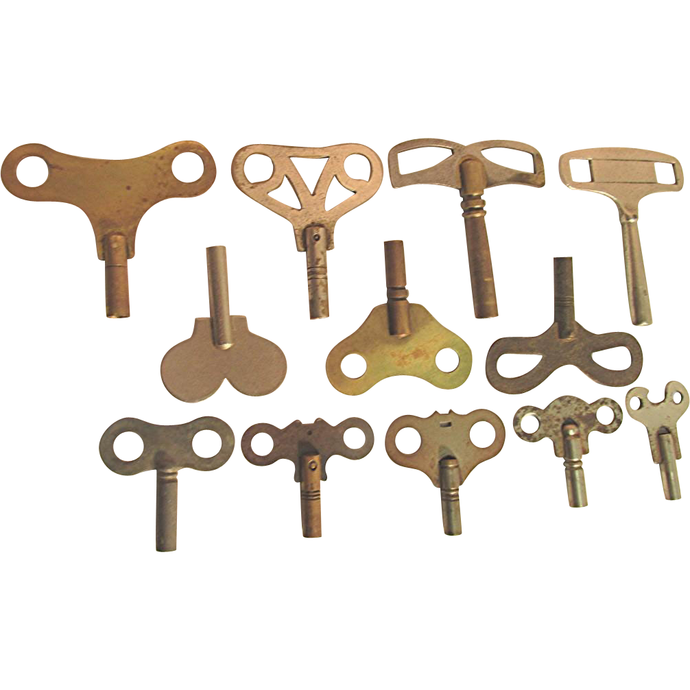 Clock Key Total of 12 Antique Keys