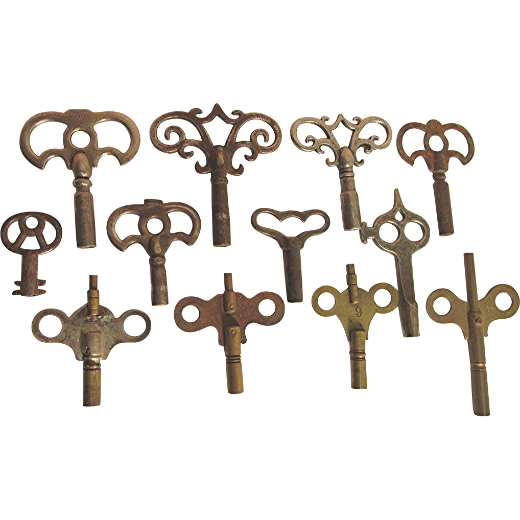SOLD  See 25+ to choose from   12 Ornate Antique Clock Keys