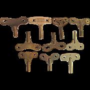 Ten (10) Antique Clock Keys
