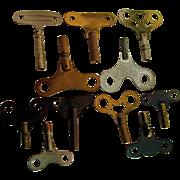 Clock Keys Assortment of Twelve for Antique Wall and Mantel Clocks
