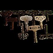 TEN Fancy Antique Clock Keys