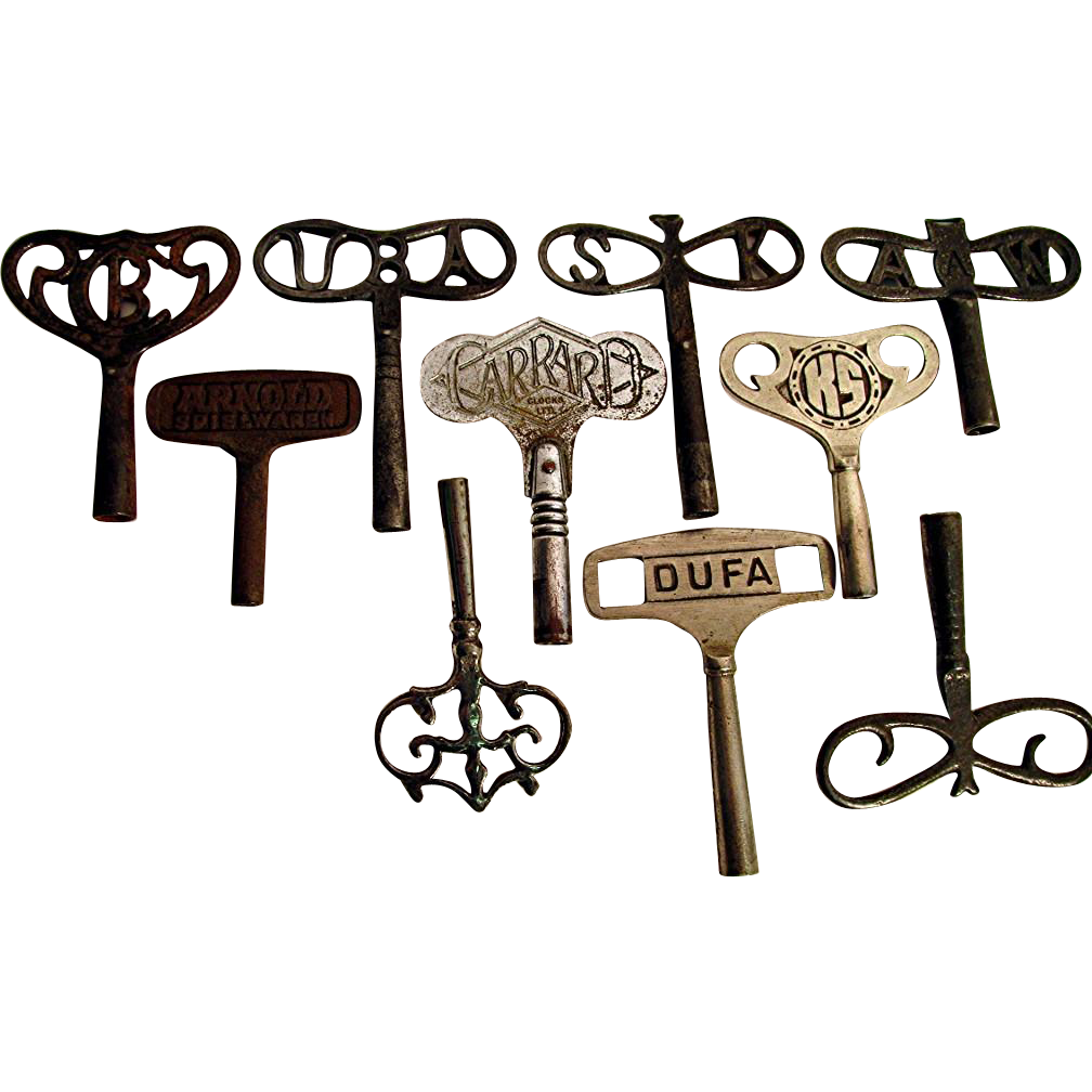 SOLD TEN Fancy Antique Clock Keys