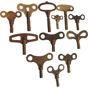 Antique Clock Keys Assortment of Twelve