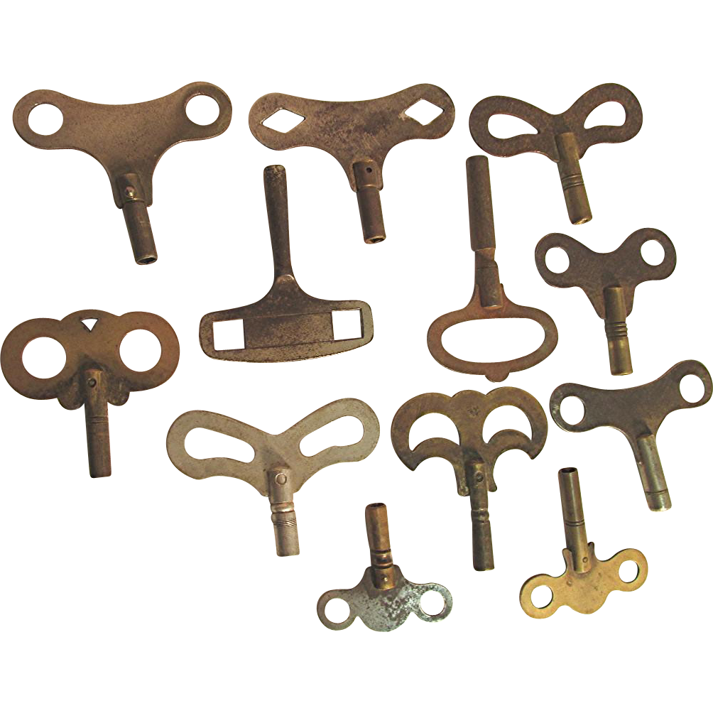 Twelve Antique Clock Keys
