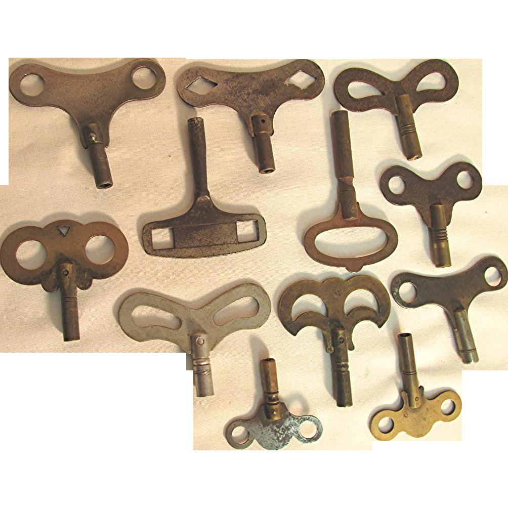 Twelve Antique Clock Keys