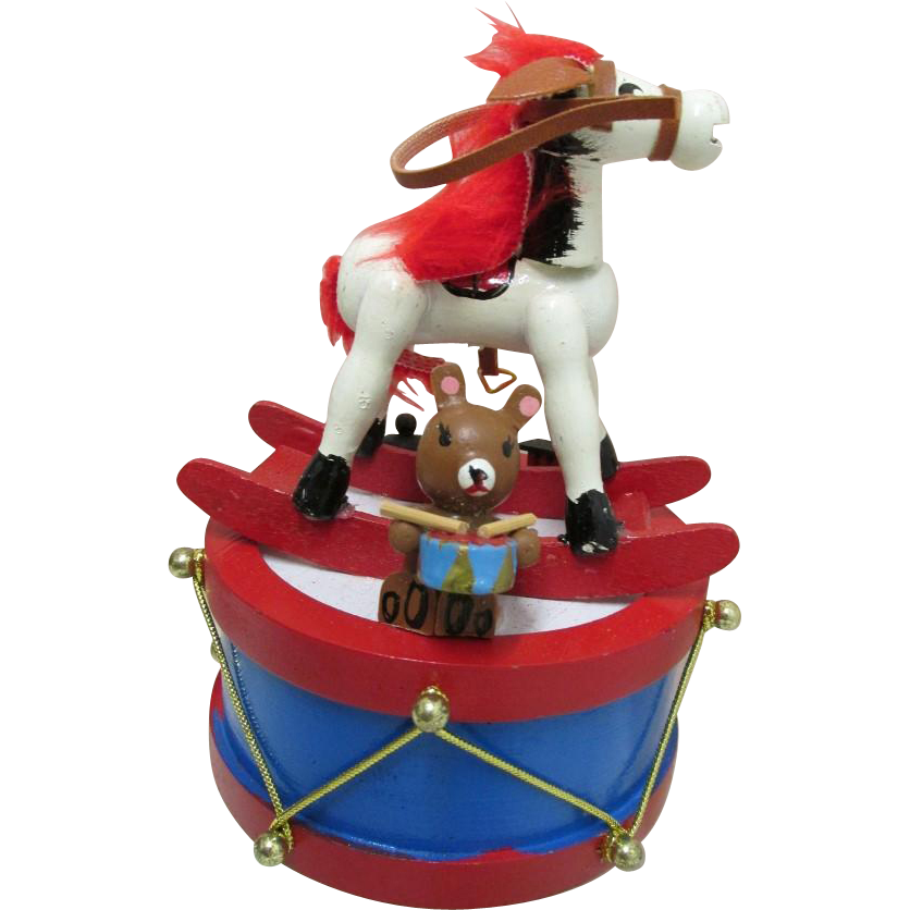 Music Box Rocking Horse on top of a Drum