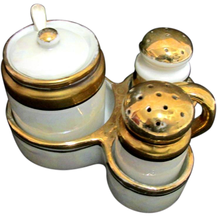 Lusterware Condiment Set Salt and Pepper in Tray