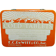 Pharmacy or Drugstore Advertising Tin Dewitts Cold Tablets Pocket Tin